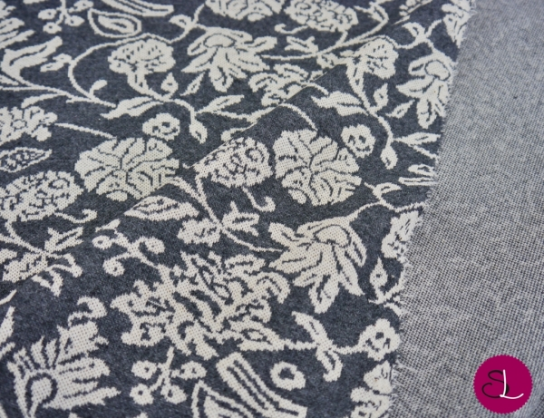 Recycled Fabric - Jacquardjersey Flower grau